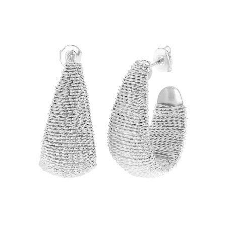 Silver Plated Wire Wrapped Braided Mesh Exotic Half Hoop Womens - Braid Silver Earrings