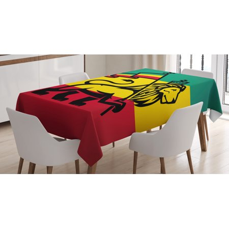 Rasta Tablecloth, Judah Lion with a Rastafari Flag King Jungle Reggae Theme Art Print, Rectangular Table Cover for Dining Room Kitchen, 52 X 70 Inches, Black Green Yellow and Red, by Ambesonne - Green And Yellow Theme
