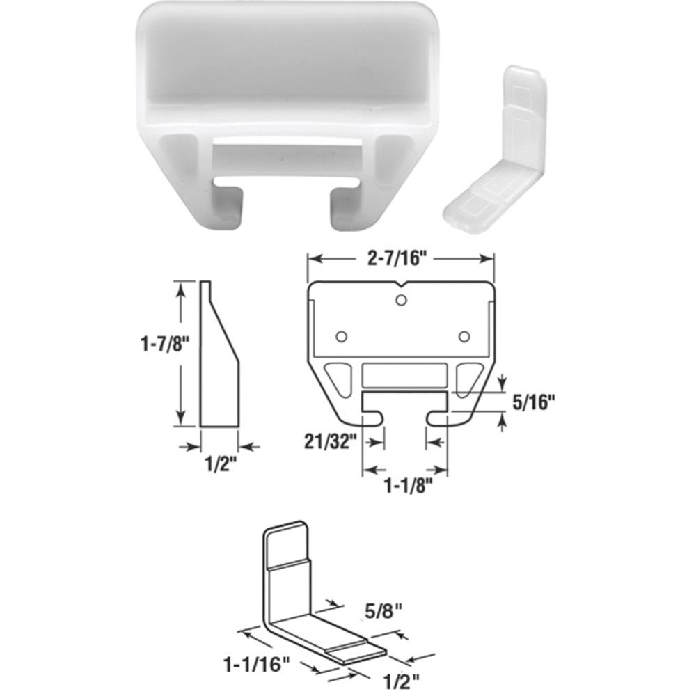 Prime Line Products 221376 White Polyethelene Drawer Guide