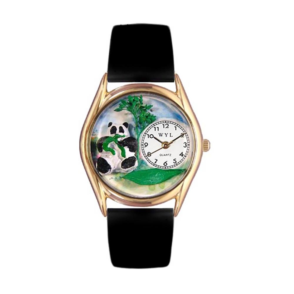Whimsical Watches Kids C0150001 Classic Gold Panda Bear Black Leather And Goldtone Watch