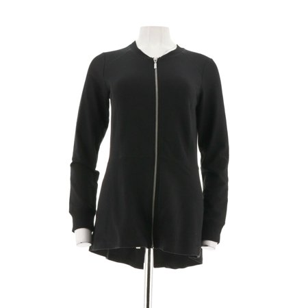 French Rib Knit Jacket - denim & co french terry zip hi-low knit jacket a299111