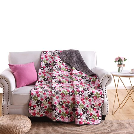 - 100% Cotton Quilted Throw Decorative Throw Blanket Multi Color Super Soft Warm Indian Vintage Reversible Quilt For Sofa and Couch 50