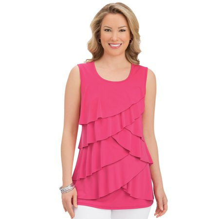 Women's Tiered Ruffle Front Sleeveless Wide Strap Scoop Neck Tank Top, Medium, Coral