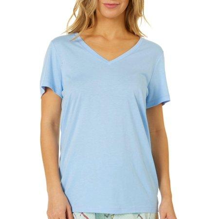 Hue Womens Essential Solid V-Neckline Pajama Top Daughter Womens Dark T-shirt