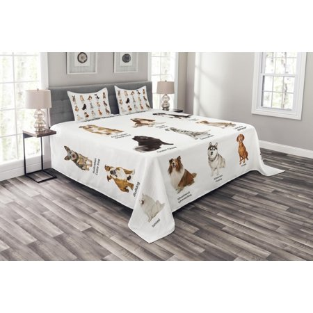 Dog Bedspread Set, A Group of Different Puppy Breeds Family Type Species Dalmatian Husky Bulldog Image Print, Decorative Quilted Coverlet Set with Pillow Shams Included, Multi, by Ambesonne ()