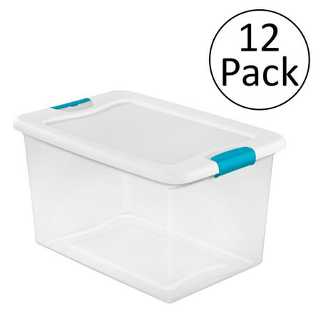 Sterilite 64 Quart Latching Plastic Storage Box, Clear w/ Blue Latches (12 Pack)](Clear Storage Bins)