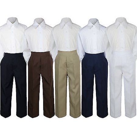 - 2pc Boy Toddler Teen Kid Formal Party Tuxedo Suit White Shirt & Pants set Sm-20