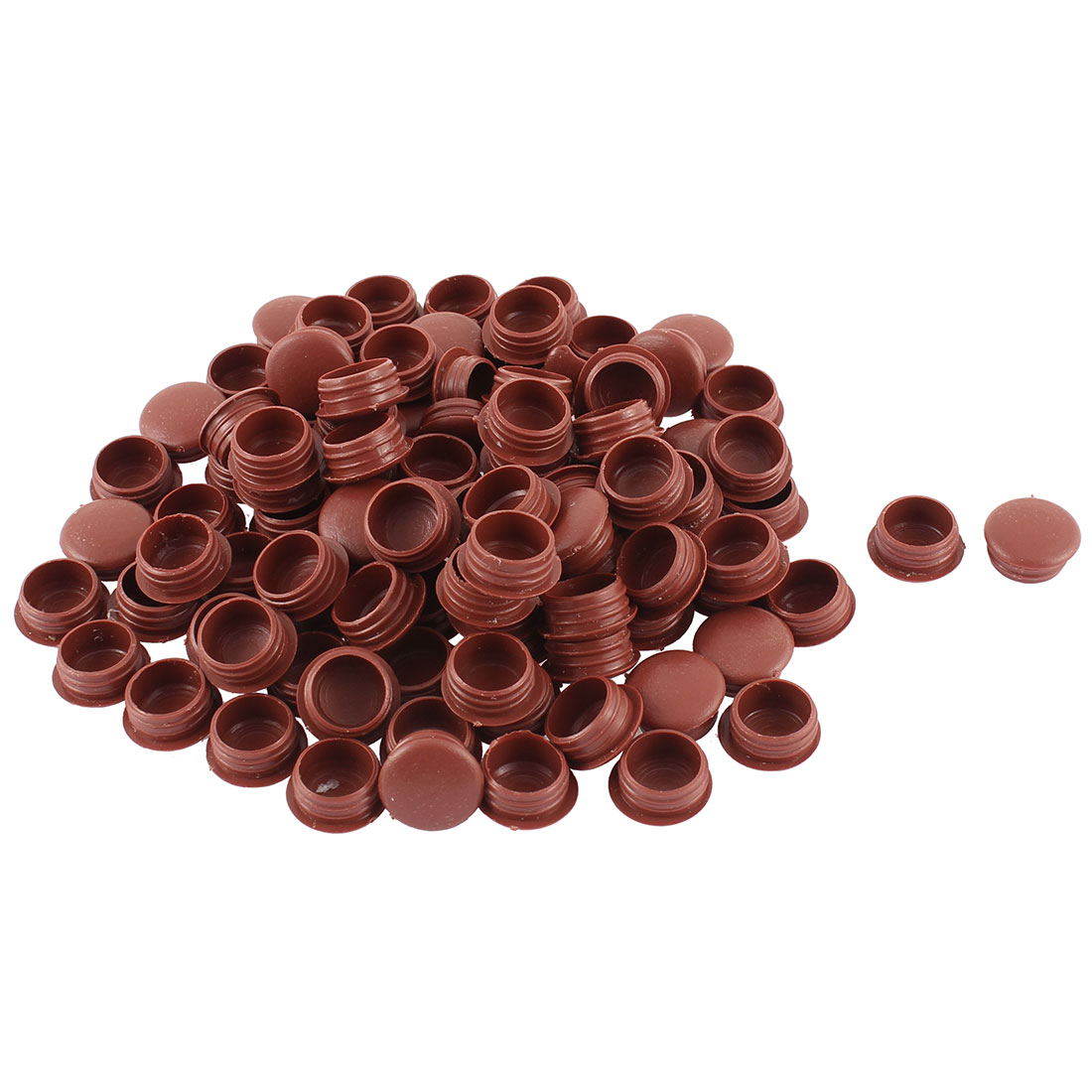 Plastic Hole End Cap Cover Pipe Tube Inserts Burgundy 18mm Dia Head 100pcs - image 1 of 1