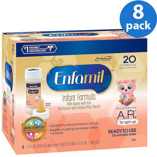 Enfamil A.R. baby formula – 2 fl oz plastic Nursette  Bottles - 6ct, Pack of 8