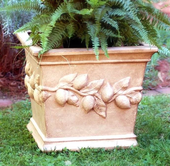 Square Lemon Planter in Tea Stain Finish