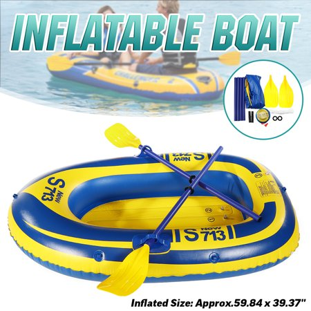 PVC 2-Person Inflatable Boat Raft Set River Fishing Boat Swimming Float Kayak Canoe w/ Pump, 2 Oars & Safety Rope Water Sports 330.6lb
