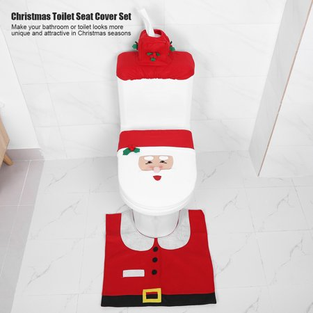 HURRISE Christmas Bathroom Toilet Seat Cover Floor Mat Water Tank Lid and Tissue Box Decor Covers Set,Christmas Toilet Seat Cover, Christmas Toilet Seat Cover Set