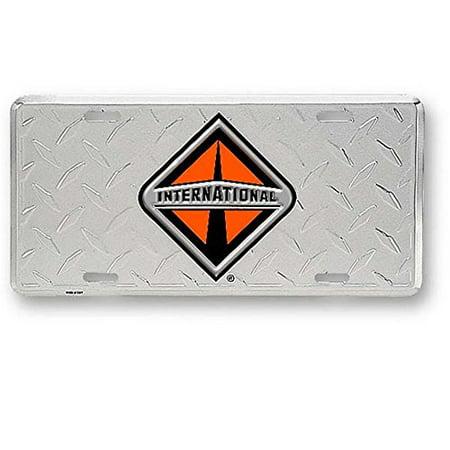 International Trucks Aluminum Diamond Plate Novelty License Plate Cut Aluminum Diamond Plate