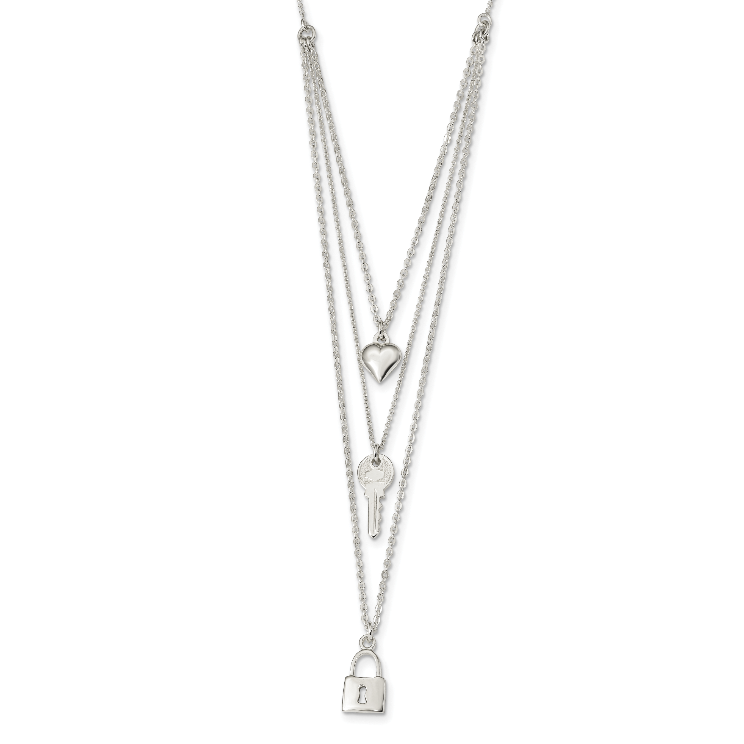 Sterling Silver Polished Lock, Heart & Key Multi-Strand 16in Necklace