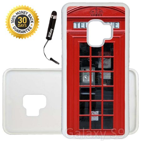 Custom Galaxy S9 Case (Red Telephone Booth Best Of London) Edge-to-Edge Rubber White Cover Ultra Slim | Lightweight | Includes Stylus Pen by