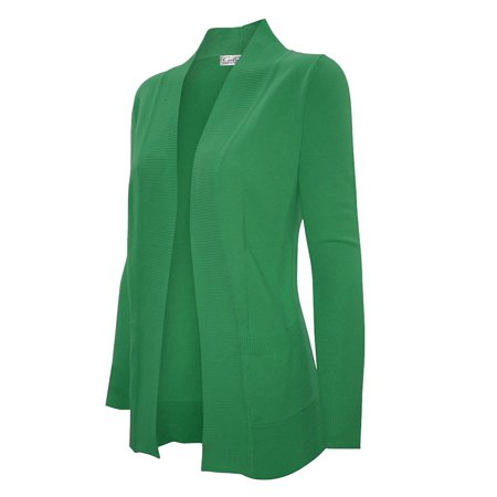 Enimay Women's Low Hip Open Cardigan Apple Green Size Small (Green Elf Off The Shelf)