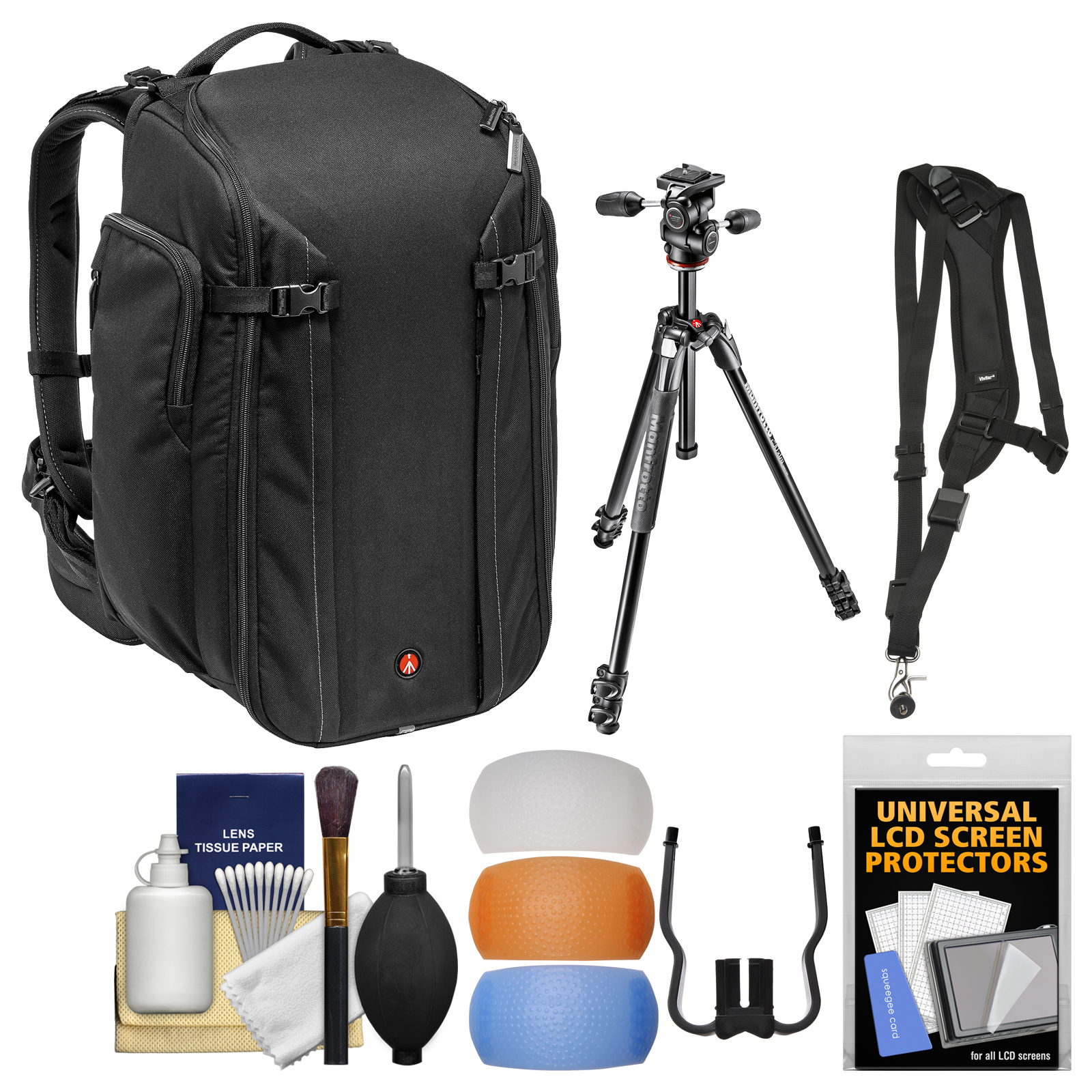 """Manfrotto Pro 50 Digital SLR Camera Backpack & 290 Xtra 67.5"""" Professional Tripod with 3-Way Head + Sling Strap + Kit"""