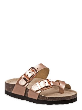 Laura Ashley Rose Gold Footbed Slide Sandal (Toddler Girls)
