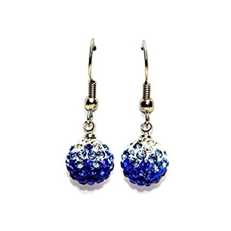 Surgical Stainless Steel Pave Crystal Disco Shambala Dangling Earrings Girls,Women Cubic Zirconia Hypoallergenic Earrings WITH A FREE GIFT RAINBOW PAVE CRYSTAL DISCO SHAMBALA STUDS EARRING (Blue)
