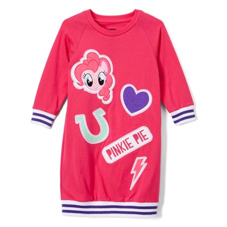 Girls' Pinkie Pie Varsity Style 3/4 Sleeve Graphic Dress - Pinkie Pie Clothing