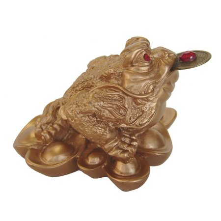- Feng Shui Golden Lucky Frog Statue 3-legged Money Toad Figurine On Wealth Ingots