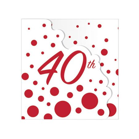 Hoffmaster Group 320873 Sparkle & Shine Ruby Invitation - 40th Anniversary, Pack of 6 - 8 Per Pack (40th Anniversary Invitations)