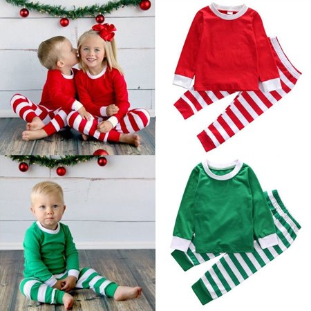 Toddler Boy Christmas Pajamas.Toddler Kid Baby Boy Girl Cotton Top Pant Outfit Christmas Pajamas Sleepwear Set