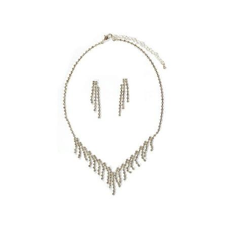 - Silver Crystal 3 Strand Dangle Earrings & Multi Strand Tassel Drop Necklace Jewelry Set