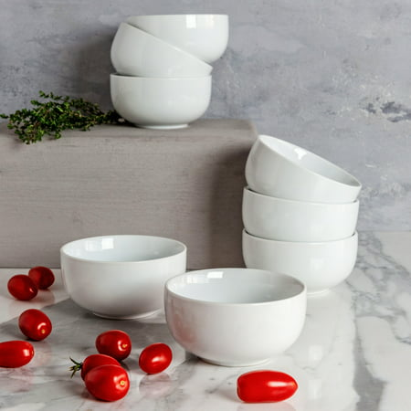 Better Homes & Gardens Small Coupe Bowl, White, Set of 8