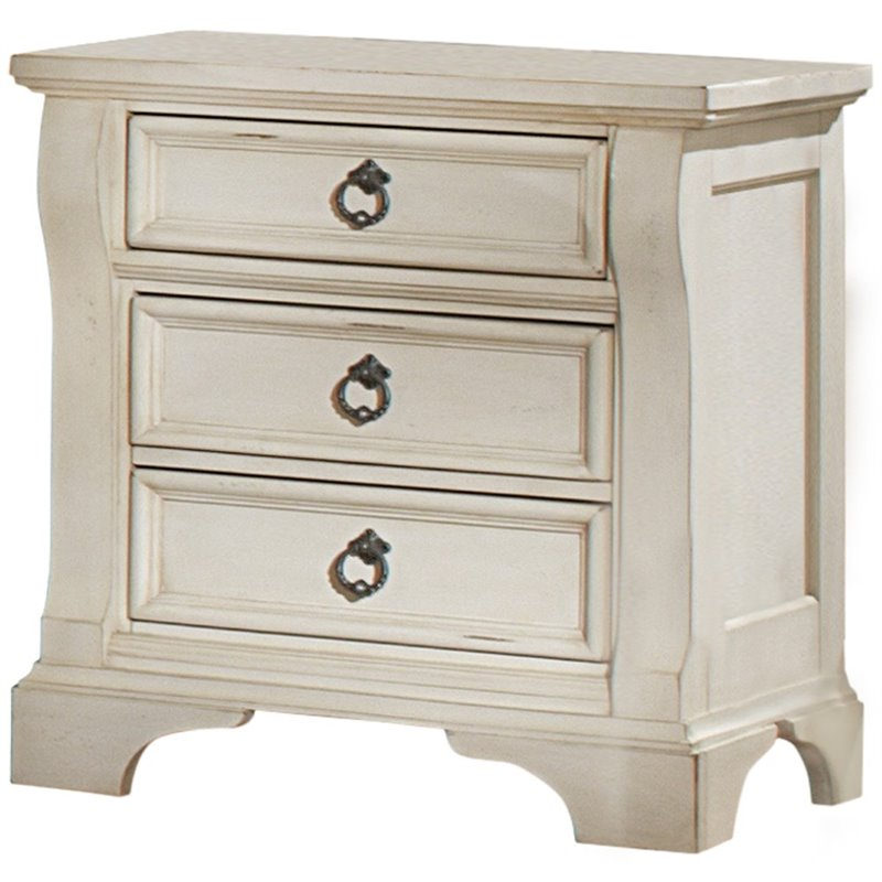 American Woodcrafters Heirloom Antique White Nightstand