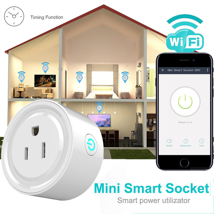 Mini WiFi Smart Remote Control Timer Plug Switch Outlet US Plug Home Devices