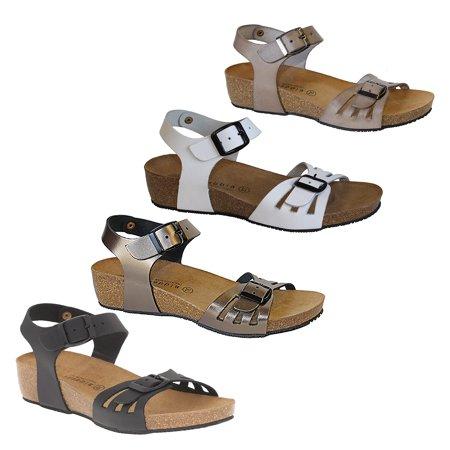 (Lola Sabbia TAMPA Womens Taupe Leather Ankle Strap Buckle Wedge Heel Sandals)