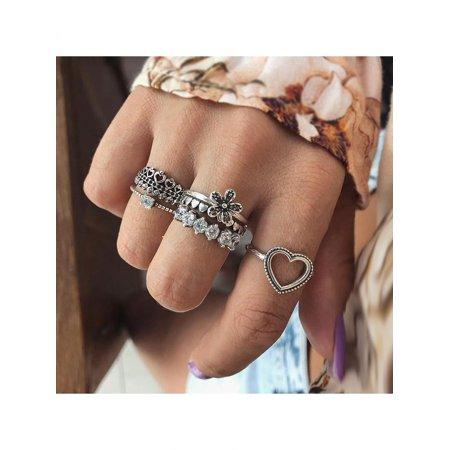 (HiCoup 6Pcs/Set Fashion Heart Flower Rhinestone Knuckle Finger Rings Women Jewelry Gift)