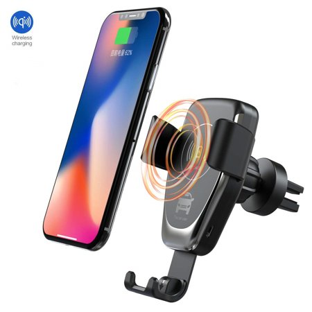 Sawpy Wireless Car Charger, Auto-Clamping Adjustable Gravity Car Mount, 10W Qi Fast Charging Air Vent Phone Holder Compatible with Samsung Galaxy Note 9/8/ S9/ S8,iPhone Xs Max/XR/X 8/8