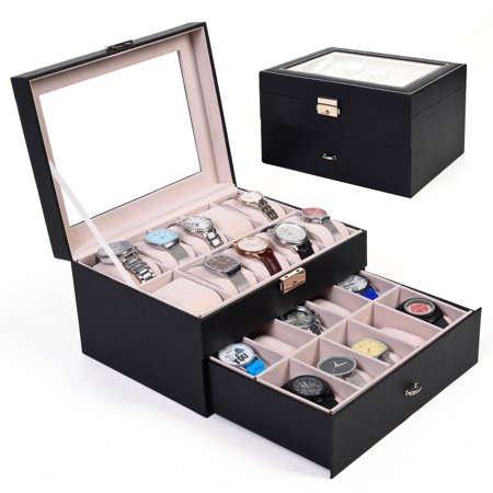 Large 20 Slot Leather Watch Box Display Case Organizer Glass Top Jewelry Storage, Watch Display Storage Box By (Display Case 20 Slot)