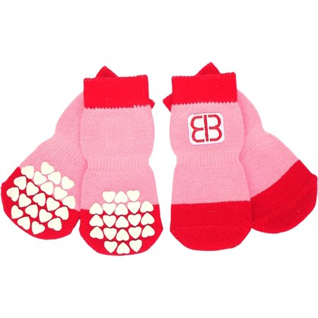 Petego Traction Control Indoor Socks For Dogs 4/Pkg-Medium Red/Pink - image 1 of 1