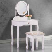 Jaxpety Vanity Makeup Table Set Make Up Dressing Jewelry Desk w/ 1 Drawer and Oval Mirror White