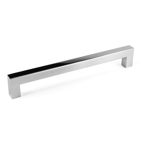 "Celeste Designs Square Bar Pull Modern Cabinet Handle Polished Chrome Stainless Steel 14mm 8"" Hole Spacing"