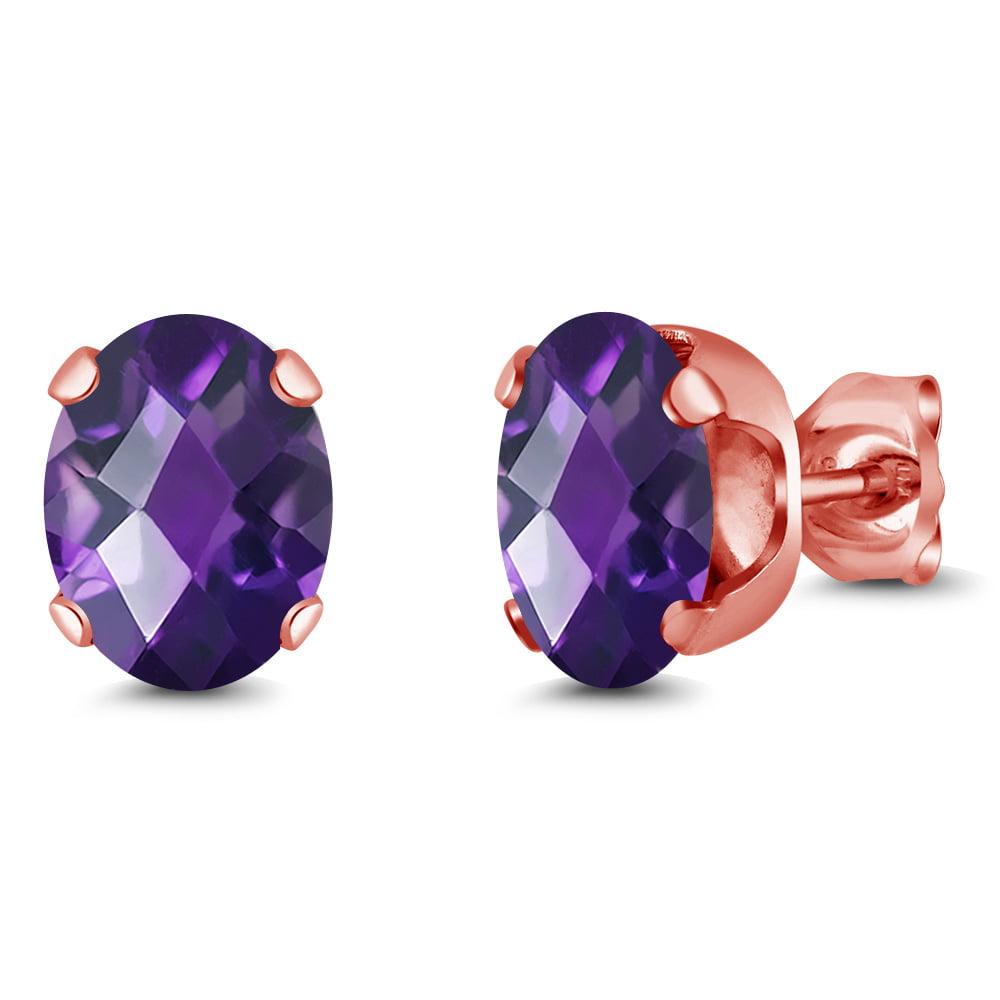 2.00 Ct Oval 8x6mm Purple Amethyst 18K Rose Gold Plated Silver Stud Earrings