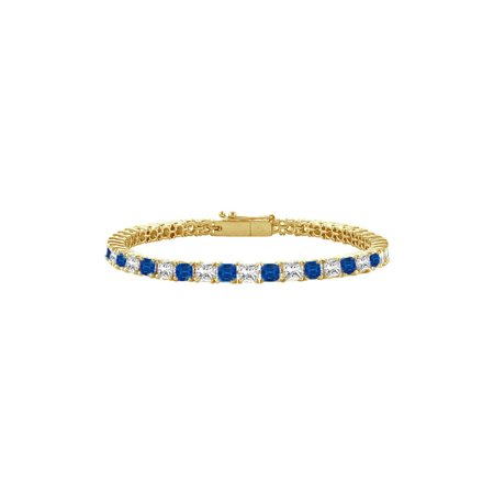 Created Sapphire and Cubic Zirconia Tennis Bracelet with 2.00 CT TGW on 14K Yellow Gold - image 1 de 4