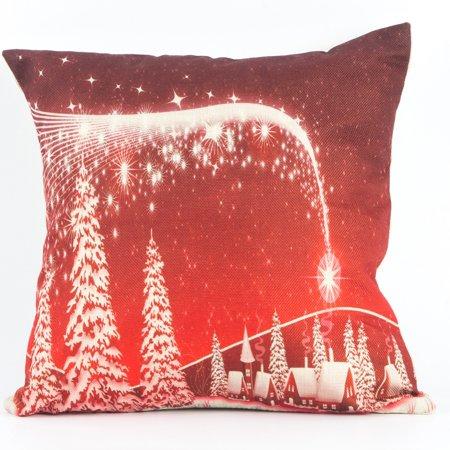 Indoor Home Decor - NK Home Cotton Linen Cushion Cover Indoor Decorative Throw Pillow Case Sofa Decor Christmas Xmas Decoration Square 18