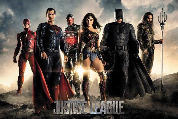 Justice League DC Comics Movie Poster   Print (The Heroes Superman, Batman, Wonder Woman, The Flash, Aquaman & Cyborg) by