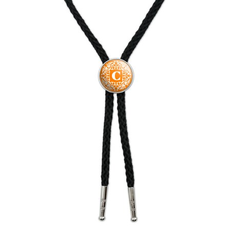 Letter C Initial Orange and White Scrolls Southwestern Bolo Tie