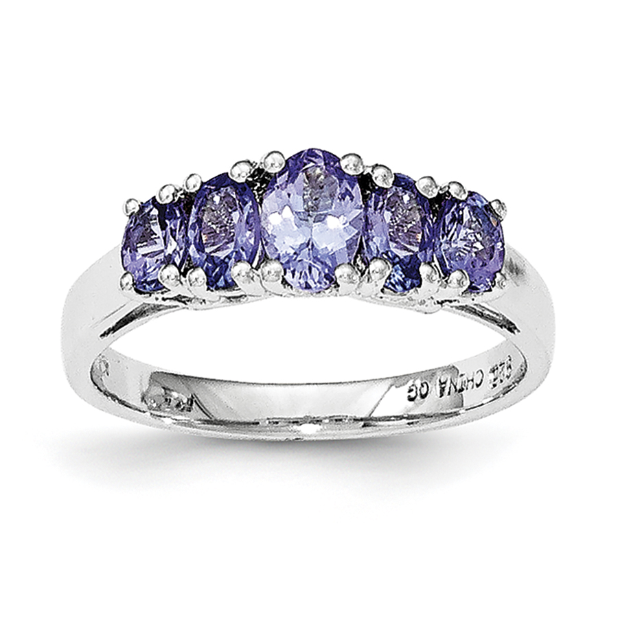 Sterling Silver 5-Stone Oval Tanzanite Ring Size 6 by