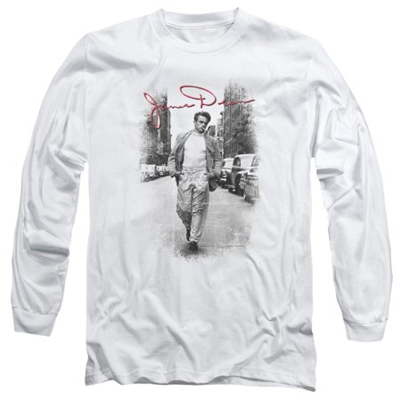 Icon Street Gear - James Dean Icon Movie Actor Street Distressed Adult Long Sleeve T-Shirt Tee