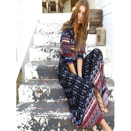 Women Summer Bohemian Tunic Floral Party Beach Long Maxi Dress Sundress BW/L