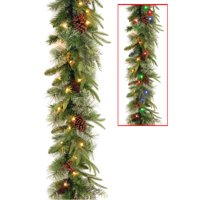 9' Colonial Garland with Battery Operated Dual Color LED Lights