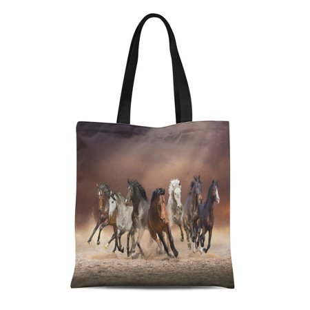 ASHLEIGH Canvas Tote Bag Herd of Horses Run Forward Sand in the Dust Reusable Shoulder Grocery Shopping Bags Handbag ()