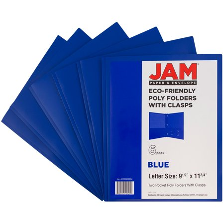 JAM Paper Plastic Eco Two Pocket Presentation Folder with Clasps- Deep Blue, 6/pack ()