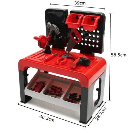 46 Pcs Kids Toy Tool Workbench Workshop Tool Bench Pretend